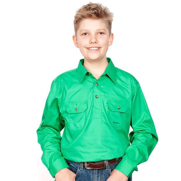 Just Country Boys - Lachlan - 1/2 Button Workshirt Ivy 30303IVY