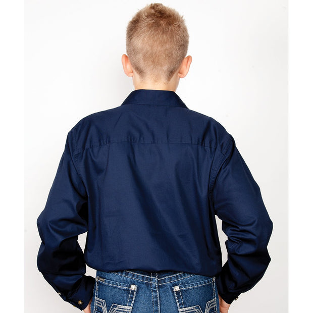 Just Country Workshirt Boy's Lachlan Navy 30303NVY back