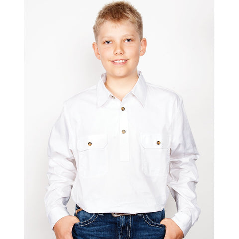 Just Country Workshirt Boy's Lachlan White 30303WHT