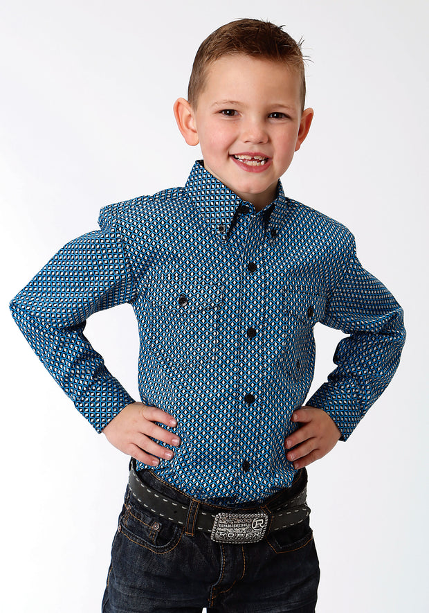 Roper Boy's - Amarillio Collection Shirt Crystal Blue 30325192
