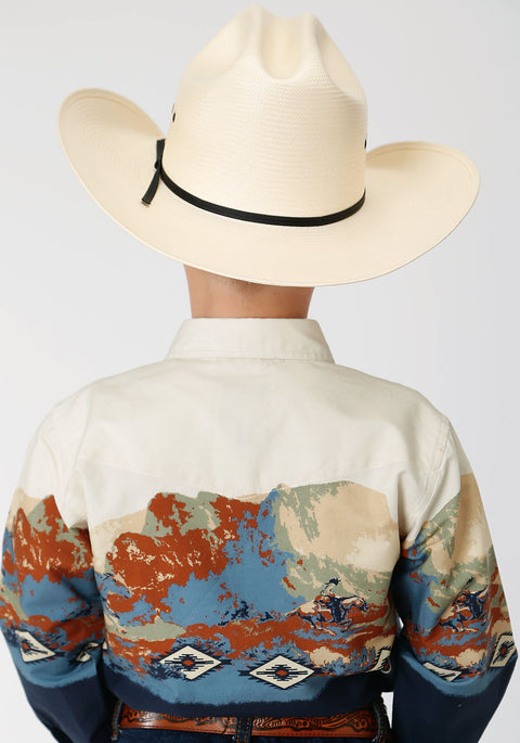 Roper Boy's - West Made Collection Shirt Blue Scene 30421333 back