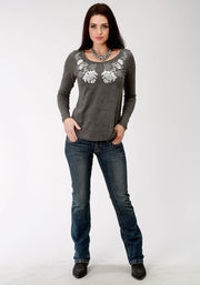 Roper Women's - Five Star Collection Tee Grey 03-038-0513-7074 GY full