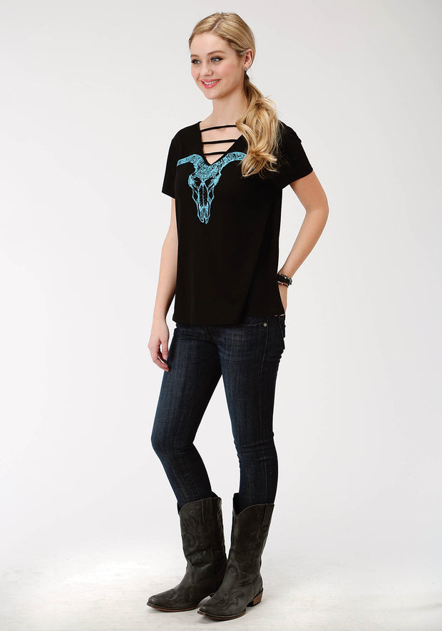 Roper Women's - Five Star Collection Tee Black 03-039-0513-6087 BL full
