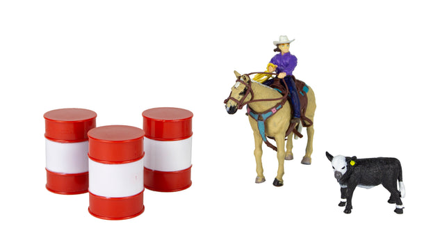 All Round Cowgirl with Barrels and Calf