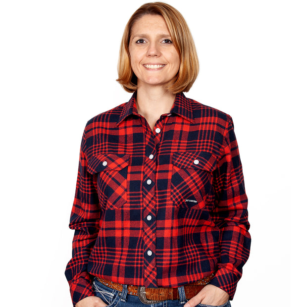 Women's - Brooke Flannel - Full Button Navy / Red 50502003