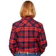 Women's - Brooke Flannel - Full Button Navy / Red 50502003 back
