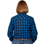 Just Country Women's - Brooke Flannel - Full Button Blue / Black 50502213 back