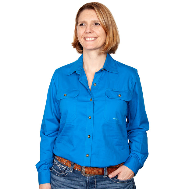 Just Country Workshirt Women's Brooke Blue Jewel front