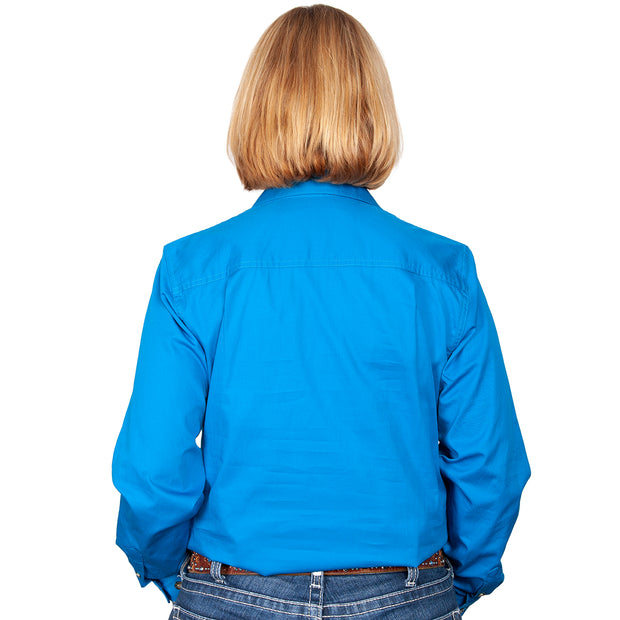 Just Country Workshirt Women's Brooke Blue Jewel back
