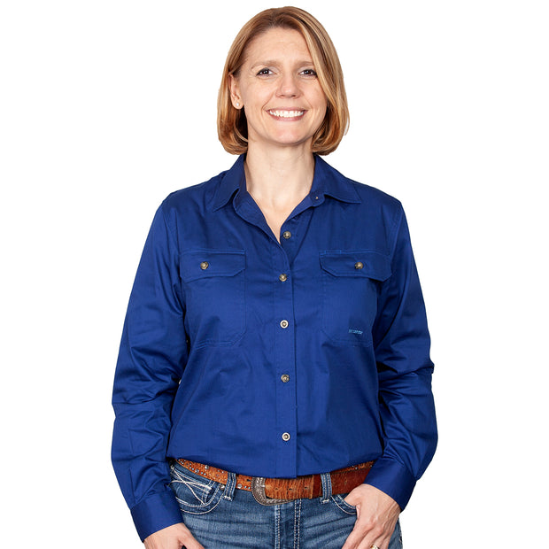 Just Country Workshirt Women's Brooke Cobalt front