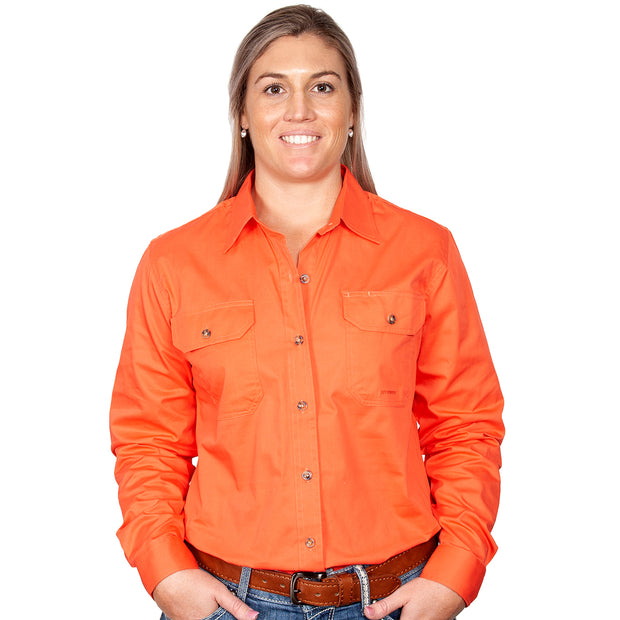 Just Country Workshirt Women's Brooke Hot Coral front
