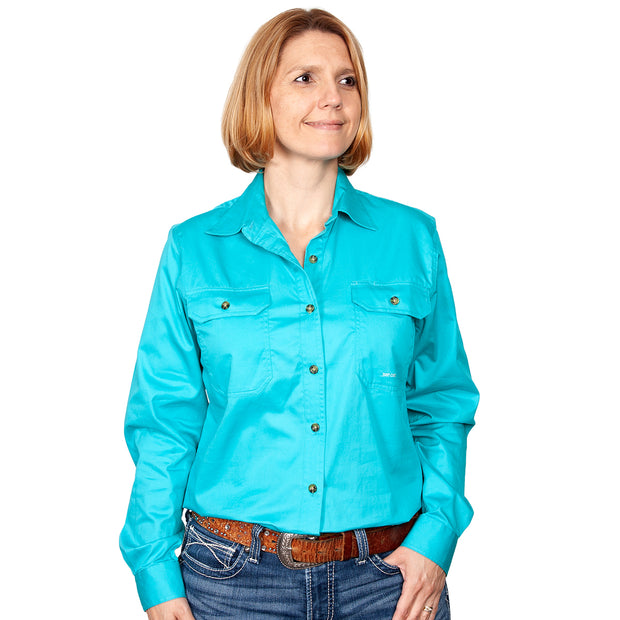 Just Country Workshirt Women's Brooke Turquoise front