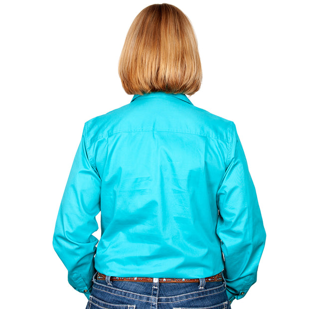 Just Country Workshirt Women's Brooke Turquoise back