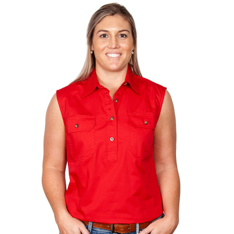 Just Country Women's Workshirt Kerry Sleeveless Chilli 50503CHI front