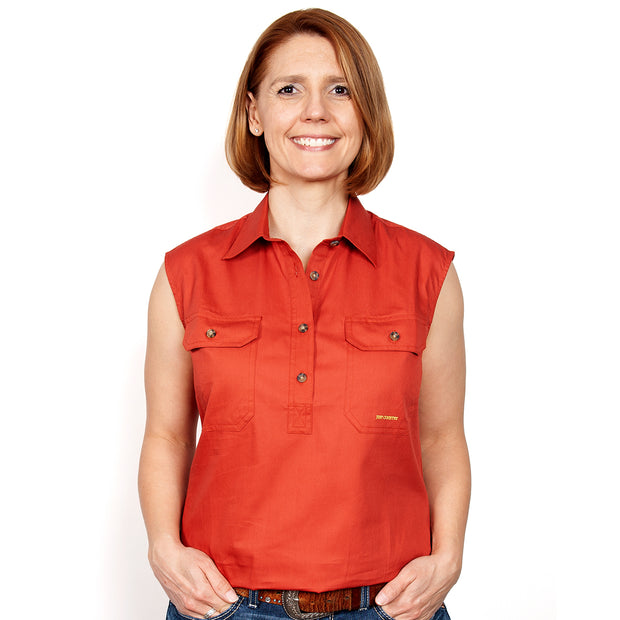 Just Country Women's - Kerry - 1/2 Button Sleeveless Rust 50503RST