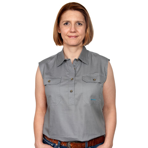 Just Country Women's - Kerry - 1/2 Button Sleeveless Steel Grey 50503STG