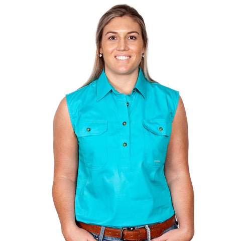 Just Country Women's Workshirt Kerry Turquoise 50503TUR front