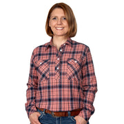 Just Country Women's - Jahna Flannel - 1/2 Button Pink / Navy 50505214