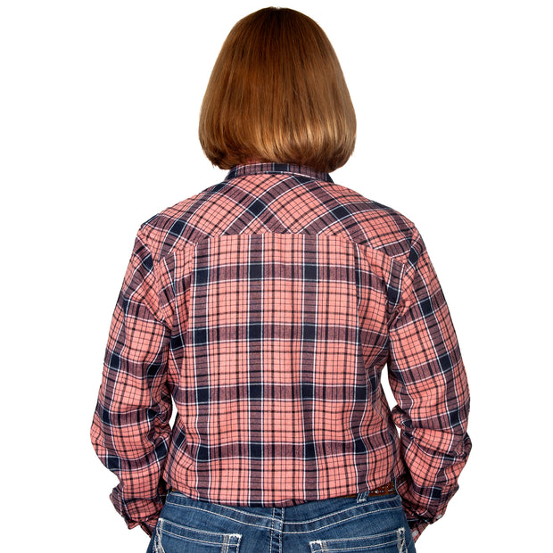 Just Country Women's - Jahna Flannel - 1/2 Button Pink / Navy 50505214 back