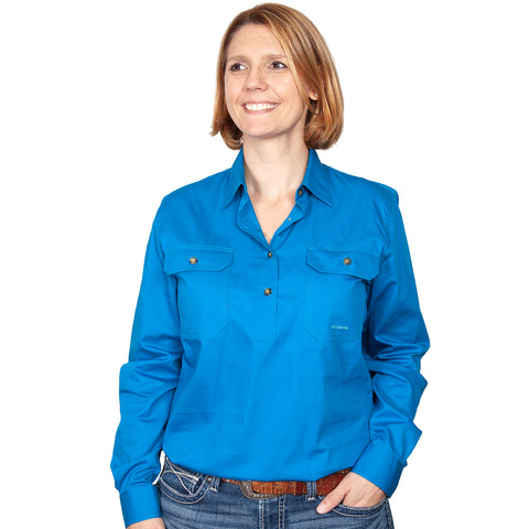 Just Country Workshirt Women's Jahna Blue Jewel front