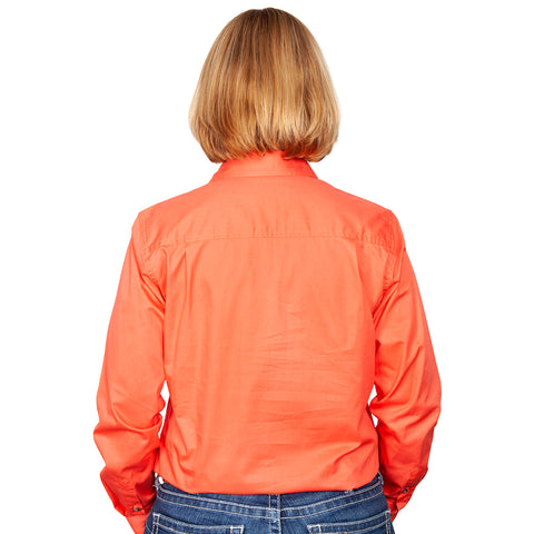 Just Country Workshirt Women's Jahna Hot Coral back