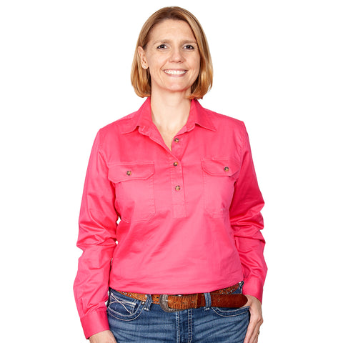 Just Country Workshirt Women's Jahna Hot Pink front