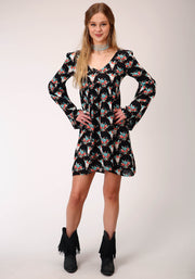 Roper Women's - Five Star Collection Dress Black Floral Skulls 03-057-0590-6078 BL