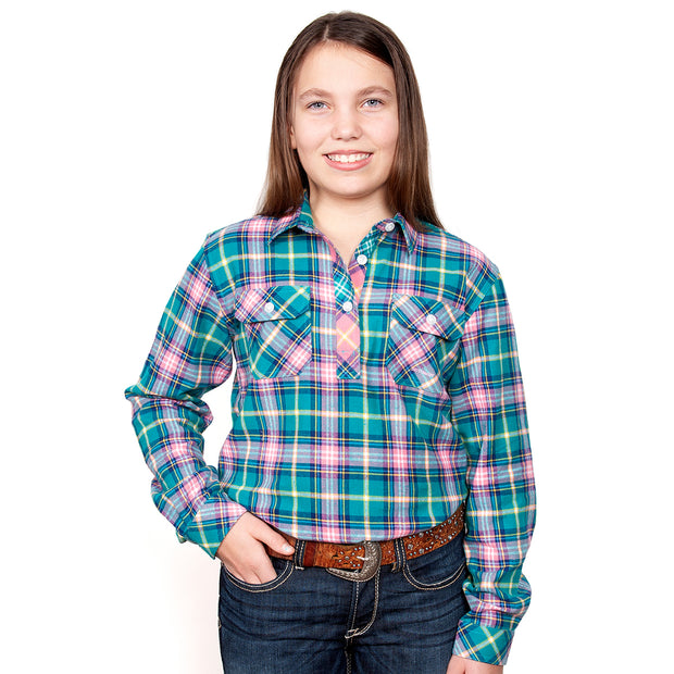 Just Country Girl's - Kenzie Flannel - 1/2 Button Turquoise / Pink  60606002