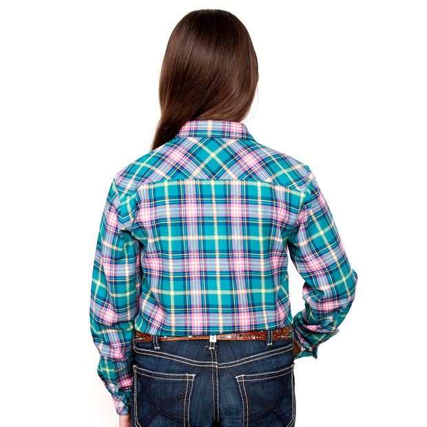 Just Country Girl's - Kenzie Flannel - 1/2 Button Turquoise / Pink 60606002 back