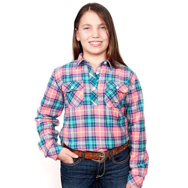 Just Country Girl's - Kenzie Flannel - 1/2 Button Pink / Turquoise 60606004
