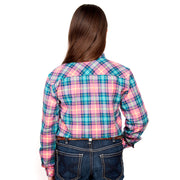 Just Country Girl's - Kenzie Flannel - 1/2 Button Pink / Turquoise 60606004 back