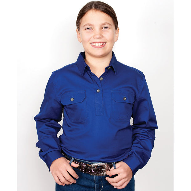 Just Country Girl's Workshirt Kenzie 1/2 Button - Cobalt 60606CBT