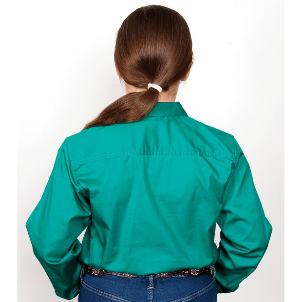 Just Country Girl's Kenzie Workshirt Dark Green 60606DKG back