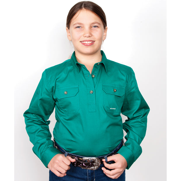 Just Country Girl's Kenzie Workshirt Dark Green 60606DKG