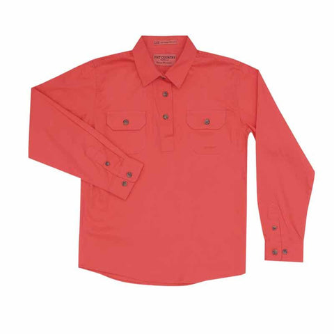 Just Country Workshirt Girl's Kenzie Hot Coral