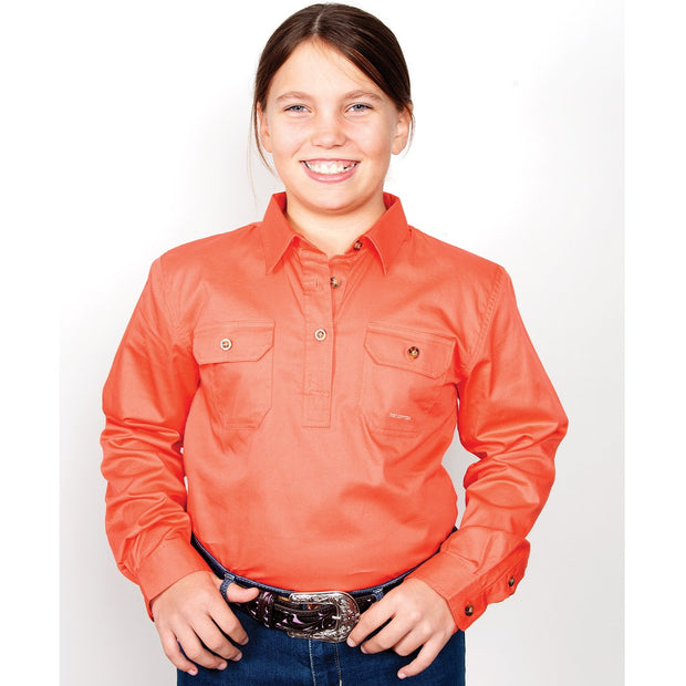 Just Country Workshirt Girl's Kenzie Hot Coral 60606HCL