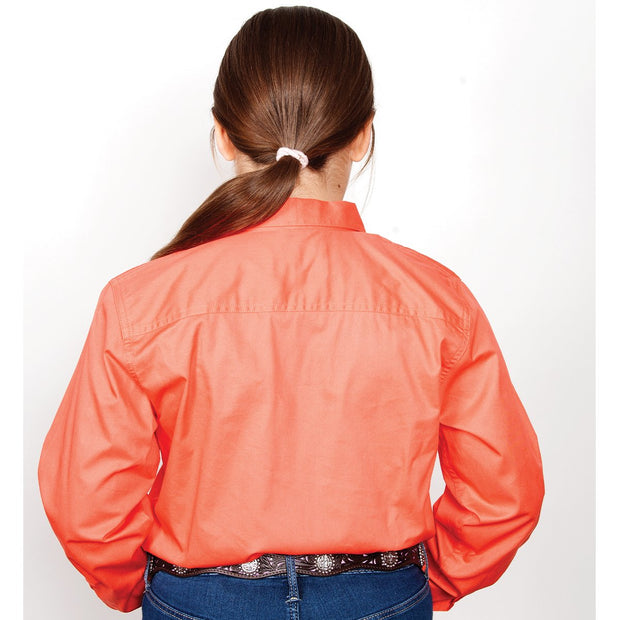 Just Country Workshirt Girl's Kenzie Hot Coral 60606HCL back