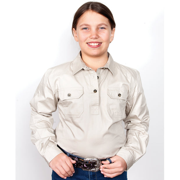 Just Country Girl's Kenzie Workshirt - Stone 60606STN