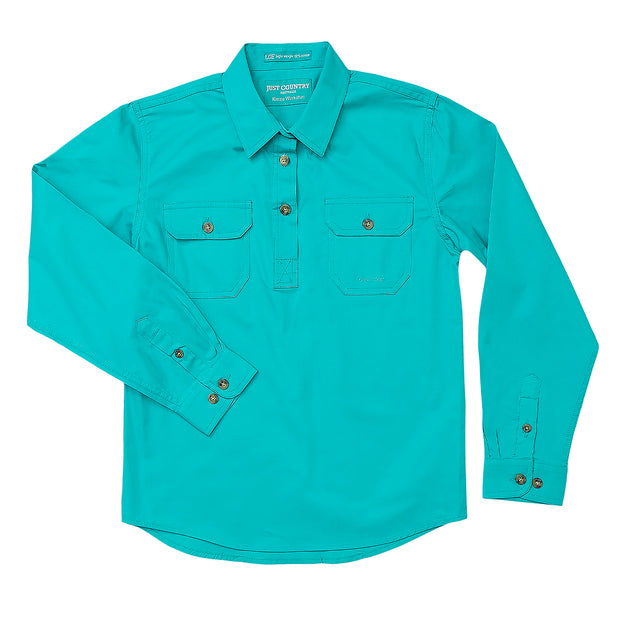 Just Country Workshirt Girl's Kenzie Turquoise