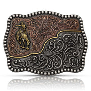 Montana Silversmiths Tri-Color Filigree Road Ranch Bronc Attitude Belt Buckle A832T