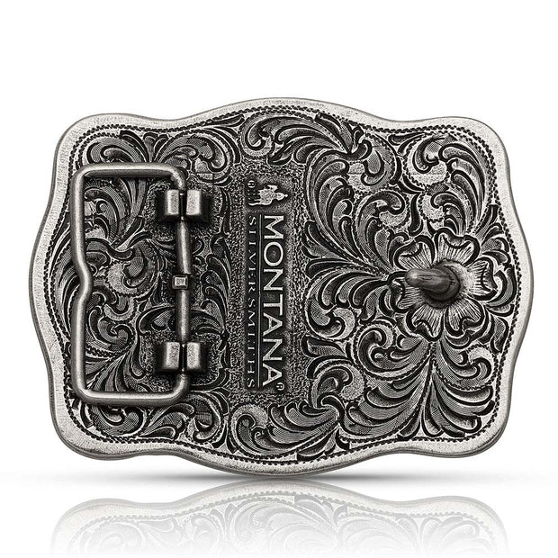 Montana Silversmiths Tri-Color Filigree Road Ranch Bronc Attitude Belt Buckle A832T back