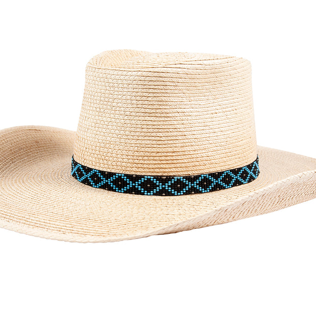 Sunbody Hat Band 9 Czech Bead Stretch Black / Blue Diamond
