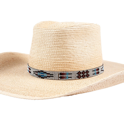Sunbody Hat Band 9 Czech Bead Stretch White Feather / Diamond