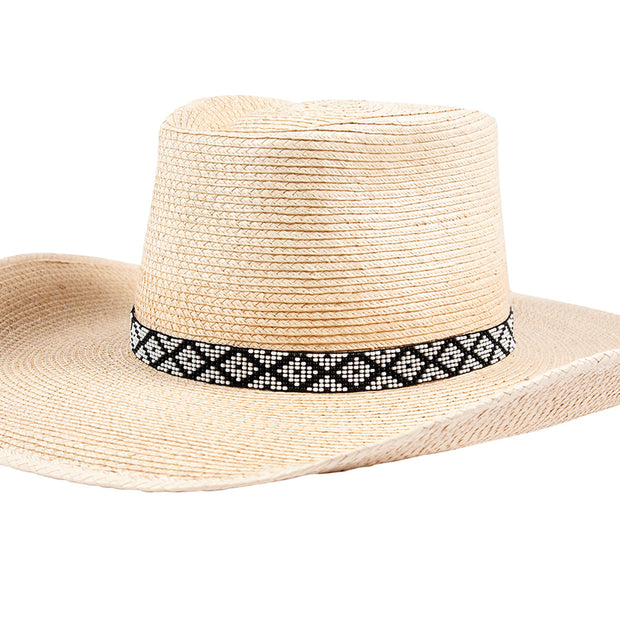 Sunbody Hat Band 9 Czech Bead Stretch - White / Black Diamond