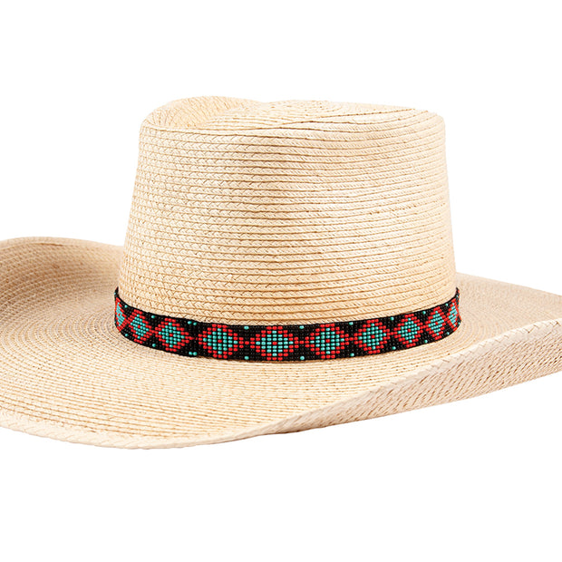 Sunbody Hat Band 9 Czech Bead Stretch Black / Red / Turquoise Diamond