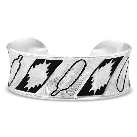 Montana Silversmiths Be Fearless Feather Pattern Cuff Bracelet BC783D