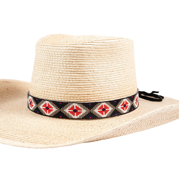 Sunbody Hat Band 15 Bead Suede Tie End Multi Diamond BHG-17G