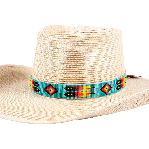 Sunbody Hat Band 15 Bead Suede Tie End Feathers BHG-17BB