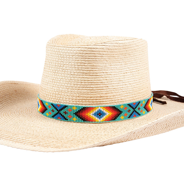 Sunbody Hat Band 15 Bead Suede Tie End Diamonds BHG-17B