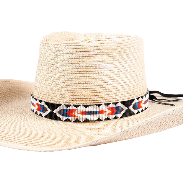 Sunbody Hat Band 15 Bead Suede Tie End Chevron BHG-17FF